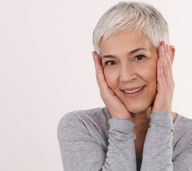 Happy Smiling Mature Woman Portrait on white background. Older s